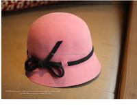women wool felt fedora, lady church hats, girl bucket hat