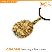 24K gold foil zinc-aluminum alloy cyrstal handmade simple gold pendant design