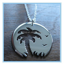 High Polished Stainless Steel Palm Tree Pendant Sunset Birds Pendant Necklace