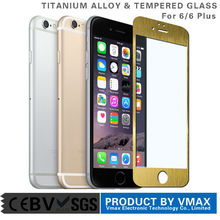 Full Body Cover !! 0.2mm Aluminium / Titanium alloy Tempered glass color screen protector for iPhone 6 / 6 Plus