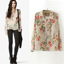 las mujeres la moda de primavera y verano de manga larga a su vez- abajo camisas de cuello, sexy estampado de flores blusa 6672