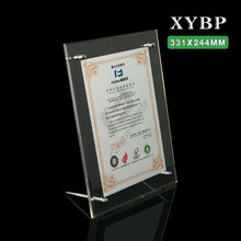 Tabletop free standing Transparent acrylic photo frame/certificate holder