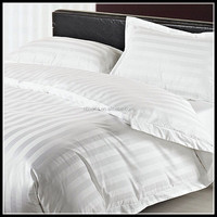300TC Satin Stripe White Bedding Set/Hotel 3cm Stripe Duvet Cover