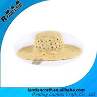 women's fashionable raffia paper straw hat with wide brim handmade