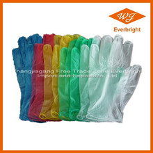 S M L XL size disposable hairdresser gloves vinyl with clear blue yellow color