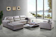 Bisini Simple Living Room Leather Sofa, L Shape Leather Sofa with Arm Chair