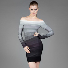 2015 fashion style cheap changing color long sleeve boat neck bandage dress , formal office bodycon dresses wholesale