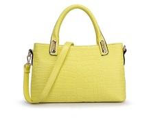 2015 Stylish handbags for lady, yellow tote bag, crocodile handbag