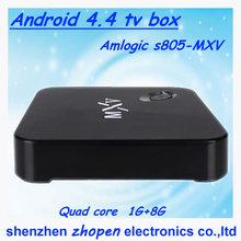Low price high quality Amlogic S805 Quad Core 1GB/8GB Kodi 802.11b/g/n wifi OEM/ODM mxv best android 3d smart tv box