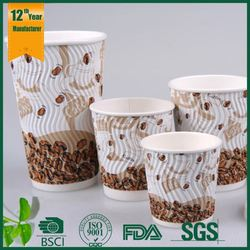paper cup,raw material for paper cup,two layers of insulation for ripple wall paper cup