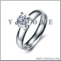 Artisan silver shinning crystal blank elegant engagement steel ring