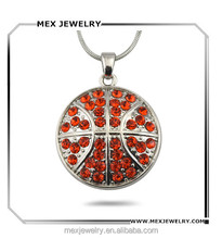Hot selling round 2d basketball crystal pendant necklace