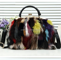 Fashion Stylish horsehair cosmetic bag with chain handle real leather Pu leather