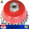 Knotted Twisted Steel Wire Cup Brushes of tooling red