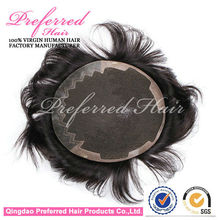 Bleached Knots,Natural Color 6 Inch 2013 New Arrivals Humam Hair Men's Toupee