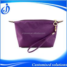 Custom Purple Nylon Cosmetic Bags With Wristlet