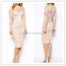 2015 New style of sheer lace slim pencil dress for picture office women/ladies wear LY0534