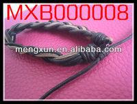 2014 fashion Brown leather Faith Bronze anchor charm leather bracelet