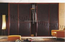 2015 Popular antique wardrobe door with leather for bedroom