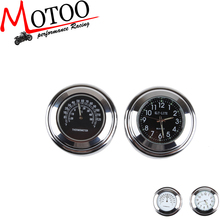 """Motoo - 7/8"""" 1"""" Motorcycle Handlebar Black Dial Clock Temp Thermometer For Harley sporter XL883 1200"""