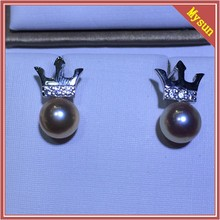 6.5-7MM bright light round freshwater pearl Stud earrings