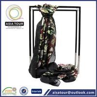 Fashion Ladies Chinese Silk Scarf Winter Black Warm Shawls Decorative Women Wear
