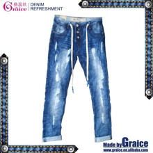 Damaged and washed ripped high wasit with cord skinny jeans for women