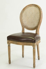 Dining room furniture use rattan back restaurant chair/round back leather wooden chair(CH-211-3)