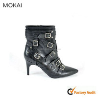 76-A02 black kid leather sexy high heel shoes lady boots with buckle strap