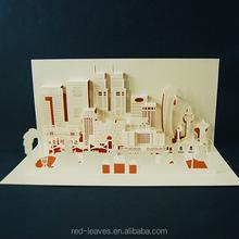 foglie rosse carta azienda ingrosso scheda 3d pop up costruzione della carta