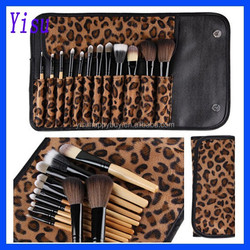 12pcs Cosmetic Brush Tool Set Leopard Bag