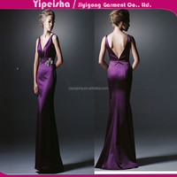 2015 Elegant Mermaid V-Neck Open Back Sexy Formal Dresses Plus Size Acetate Sleeveless Show Thin