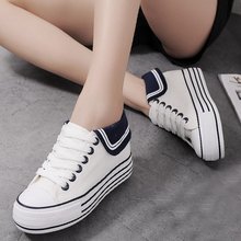 SAA1078 Korean women shoes stylish high platform sneakers fancy navy girls canvas shoes