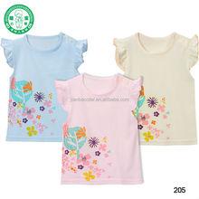 Non. 205 modello di fiori bambina vestiti/in alto bambino/bambino t- shirt
