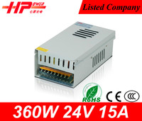 Guangzhou factory promotion price CE RoHs approved waterproof constant voltage single output 15a 360w power supply unit 24v