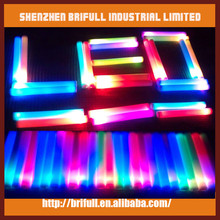 rainbow color led foam stick with clear sticker logo