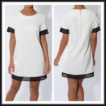 White And Black Mesh Trim T-Shirt New Smart Elegant Dress Women Office Wear NT6148
