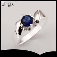 Sterling silver india gemstone blue topaz ring jewellery with ruby stone