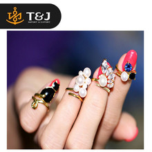 >>2015 fashion high quality Beautiful Blue Crystal Black Cat Created Pearls Zircon Nail Rings Women Knuckle Ring -