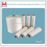 100% Spun Polyester Yarn 50s/2 Raw White