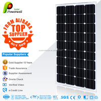 Powerwell Solar 156*156mm solar cell 150-160w Mono Silicon Solar PV Panel Module With CE/IEC/TUV/ISO