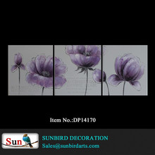 100% handmade gray background with purple flower group oil painting