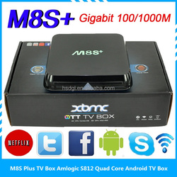 Android 5.1 tv box M8S plus M8S+ 2.4G 5G wifi 4K 3D MINI PC satelitte tv receiver internet media sharing quad core 2G/8G tv box