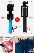 Pen size 15.5CM NEWEST cheap wired selfie stick pocket size super mini selfie stick