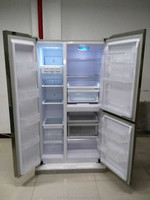610L side by side three door refrigerator with combination of fan cooling and defrost cooling