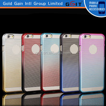 Fashion Smart Phone Gradient Stripes Plating PC Case For iPhone 6