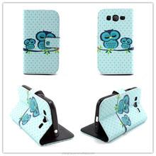 Cartoon Owl Birds Leather Wallet Eiffel Flip Case For Samsung galaxy grand neo I9060