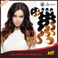 Hot sale ombre hair extension two colored cheap brazilian hair weaving/ hair weave