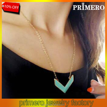 PRIMERO Hot Selling New Arrived Fashion Korean Style Metal Arrow Triangle Geometry V Statement Drip Oil Pendant Necklace