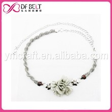 White peony pendant chain twist belt for lady